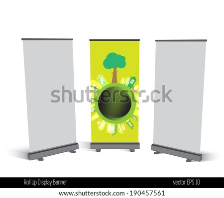 Roll Up Display Banner - stock vector