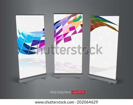 Roll up display banner, vector  - stock vector