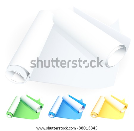 Rolled blueprints - stock vector