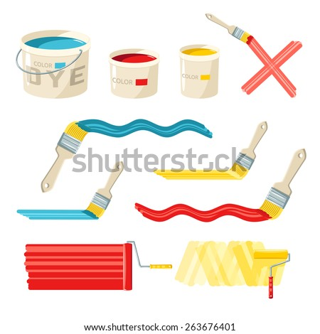 Roller and paint buckets and color brushes decorative icons set isolated vector illustration - stock vector