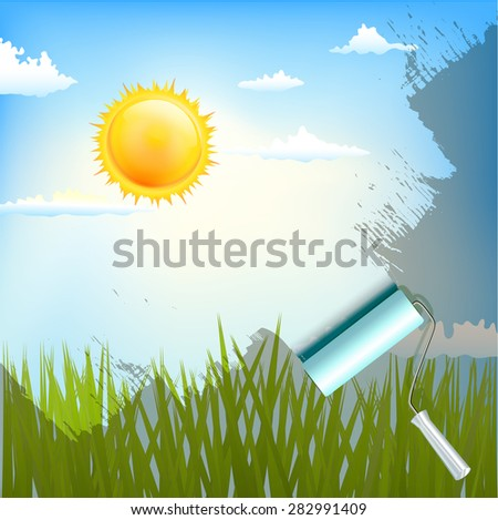 roller brush over sunlight background with grass - stock vector