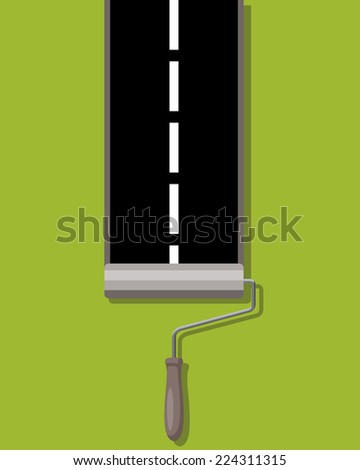 roller brush painting road - stock vector