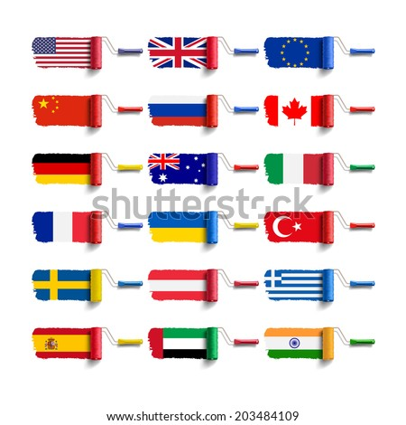 roller brush with flag - stock vector