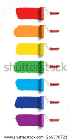 Roller Brushes with Seven Colors Paint - stock vector