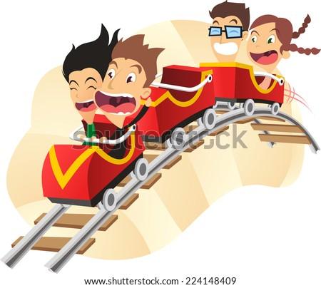 Roller coaster amusement park super fun ride cartoon vector illustration - stock vector
