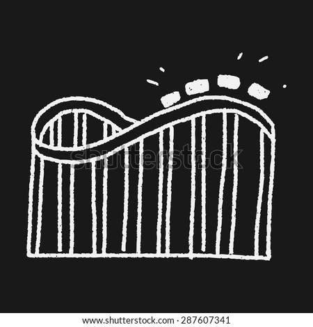 Roller coaster doodle - stock vector