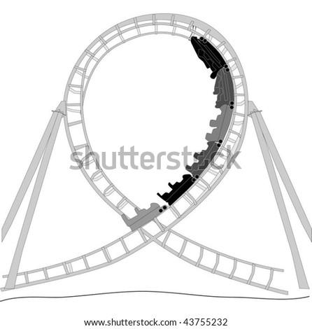 Roller Coaster Silhouette - stock vector