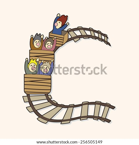 roller coaster theme elements - stock vector