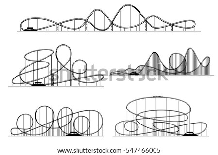 Roller Coaster Vector Silhouettes Rollercoaster Or Amusement Park Rollers Isolated On Funfair Monochrome