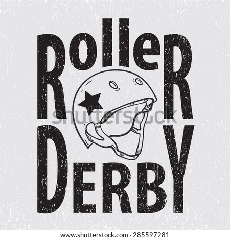 Roller derby helmet typography, t-shirt graphics, vectors - stock vector
