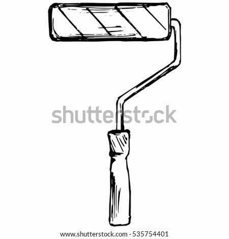 Roller for painting. Tools for drawing. Isolated on white background. Vector, doodle style