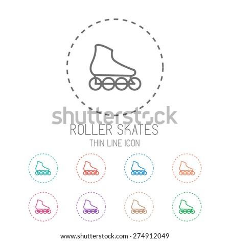 Roller skate. Clean thin line style sport icon set. Vector Illustration EPS10. - stock vector