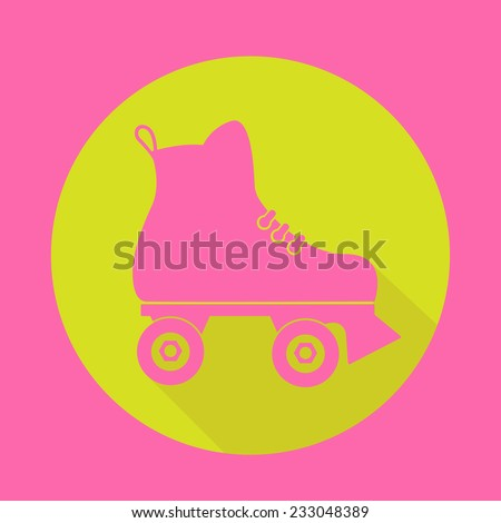 roller skate icon with a long shadow on white - stock vector