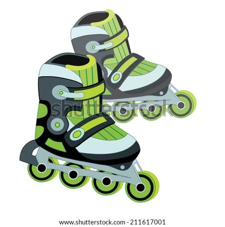 roller skate isolated on white background (vector illustration) - stock vector
