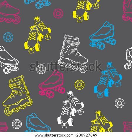 roller skate seamless pattern - stock vector