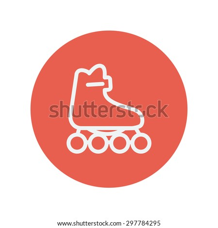 Roller skate thin line icon for web and mobile minimalistic flat design. Vector white icon inside the red circle - stock vector
