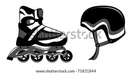 Roller skates and helmet - stock vector