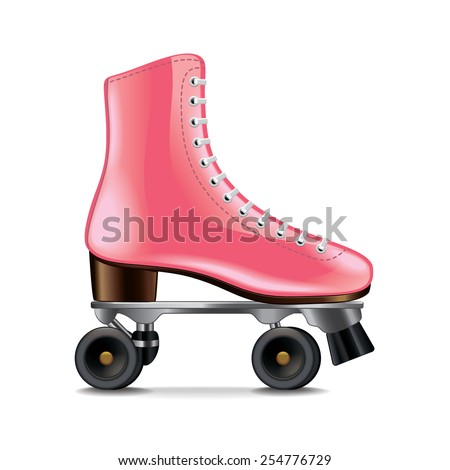 Roller skates isolated on white photo-realistic vector illustration - stock vector