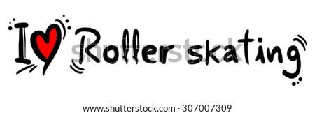Roller skating love - stock vector