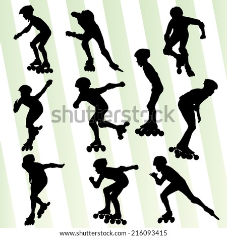 Roller skating vector background set
