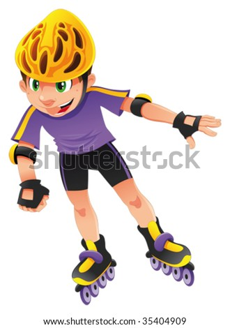 Rollerblade boy - stock vector