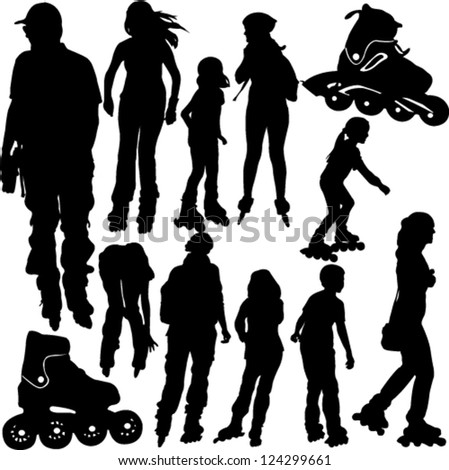 rollerblade silhouettes - vector - stock vector