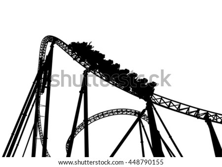 Rollercoaster in the park on a white background - stock vector