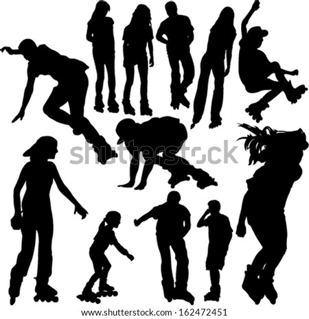 rollerskating silhouettes 1 - vector - stock vector