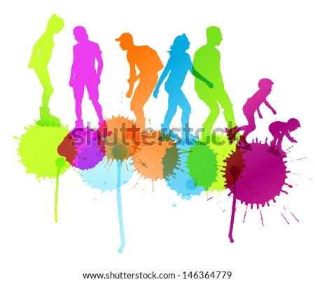 Rollerskating silhouettes vector background concept with ink splashes - stock vector