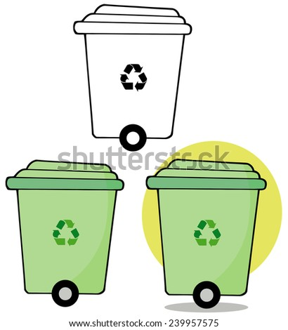 Rolling Green Recycle Bin. Vector Collection Set