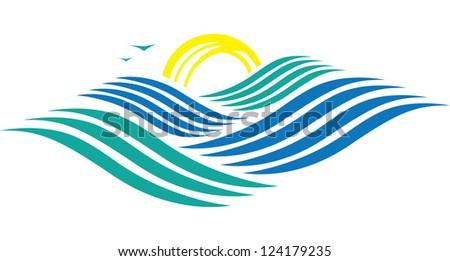 Rolling Ocean - stock vector