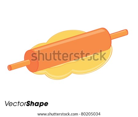 Rolling pin and dough, baking concept, vector illustration - stock vector