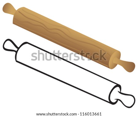 Rolling pin for dough - stock vector