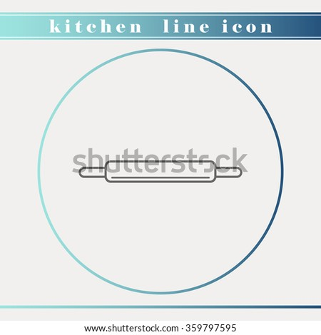 Rolling pin outline thin line icon. Kitchen and restaurant accessories, equipment, cooking utensil, cutlery tools, kitchenware and cookware for food preparation. - stock vector