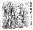 Roman armors and shield old engraving, based on the Trajan's Column. Vector, engraved illustration of roman soldier, equipped with armor, montefortino helmet, spear and shield - stock vector