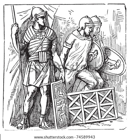 Roman armors and shield old engraving, based on the Trajan's Column. Vector, engraved illustration of roman soldier, equipped with armor, montefortino helmet, spear and shield