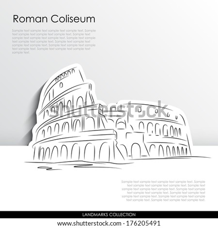 Roman Coliseum abstract silhouette on white paper background.  - stock vector