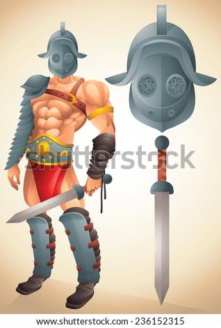Roman Gladiator cartoon concept 1 - stock vector