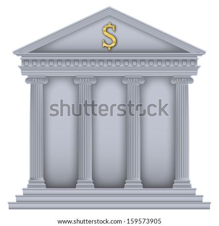 Roman/Greek Temple with ionic columns, money symbol , high detailed with outline - stock vector