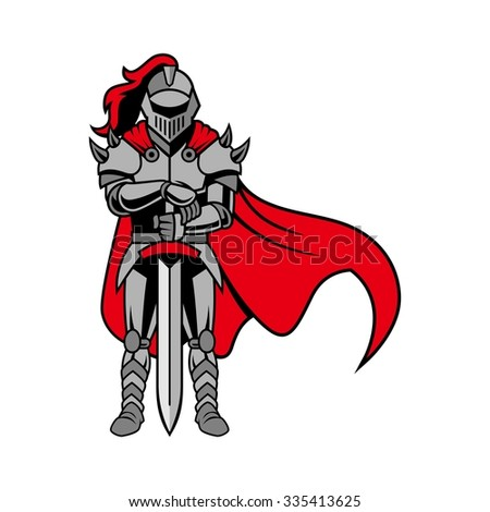 Roman Knight, gladiator with shield and armor, strong and protective, isolated vector - stock vector