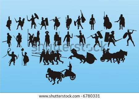 Roman legionaries - stock vector
