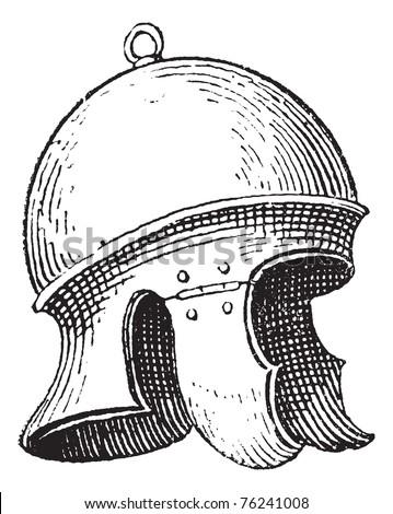 Roman legionnaire's helmet or galea vintage engraving. Old engraved illustration of legionnaire's helmet. - stock vector