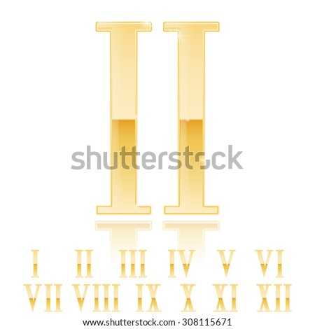 Roman numerals set. Golden numerals. Gold glossy Two 2 . Vector