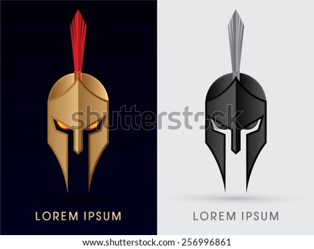 Roman or Greek Helmet , Spartan Helmet, Head protection, warrior,soldier, logo, symbol, icon, graphic, vector. - stock vector