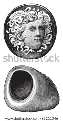 Roman ring / vintage illustration from Meyers Konversations-Lexikon 1897 - stock vector