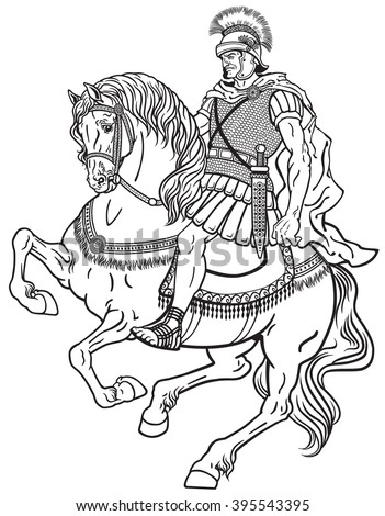 roman warrior riding the horse. Black and white illustration