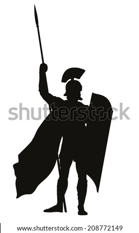 Roman warrior with shield and spear detailed vector silhouette. EPS 8 - stock vector