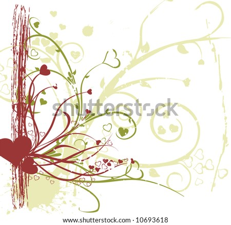 romance ornaments with grunge elements - stock vector