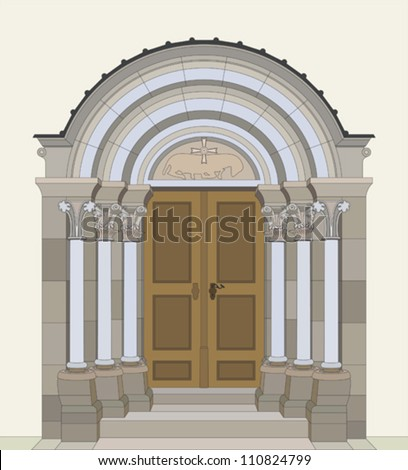 Romanesque portal - stock vector