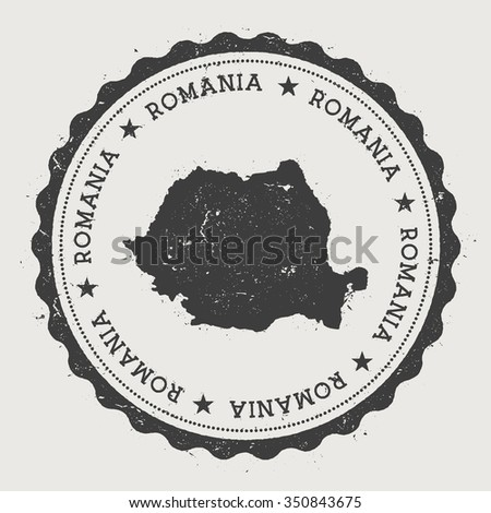 Romania. Hipster round rubber stamp with Romania map. Vintage passport stamp with circular text and stars, vector illustration - stock vector